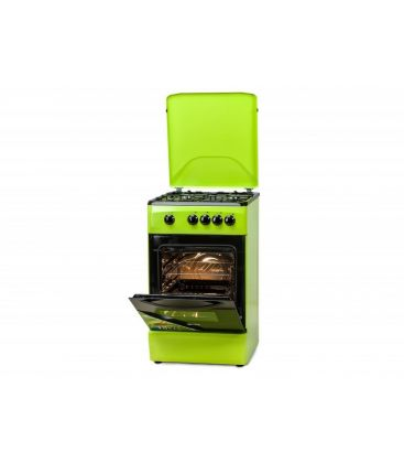 Aragaz LDK 5060 GREEN LPG, 4 arzatoare,  Capac metalic, Siguranta, 50x60 cm, Verde